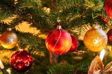 christmas ball ornaments on tree