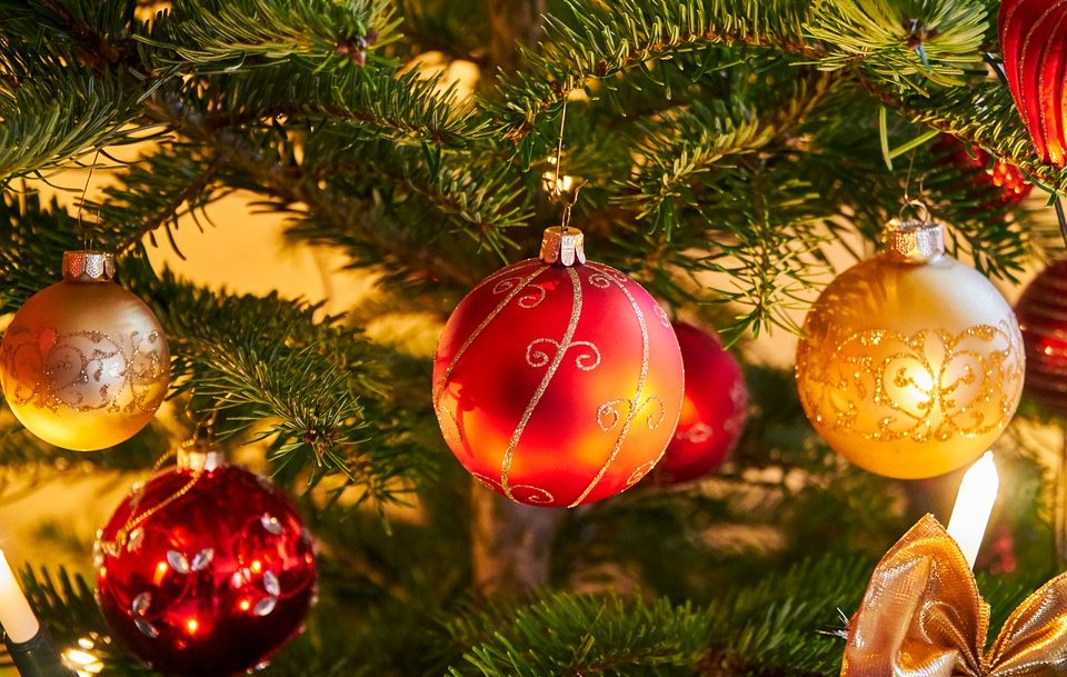 christmas ball ornaments on tree
