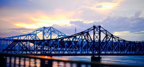 Mississippi river bridge from Vicksburg, MS at dusk
