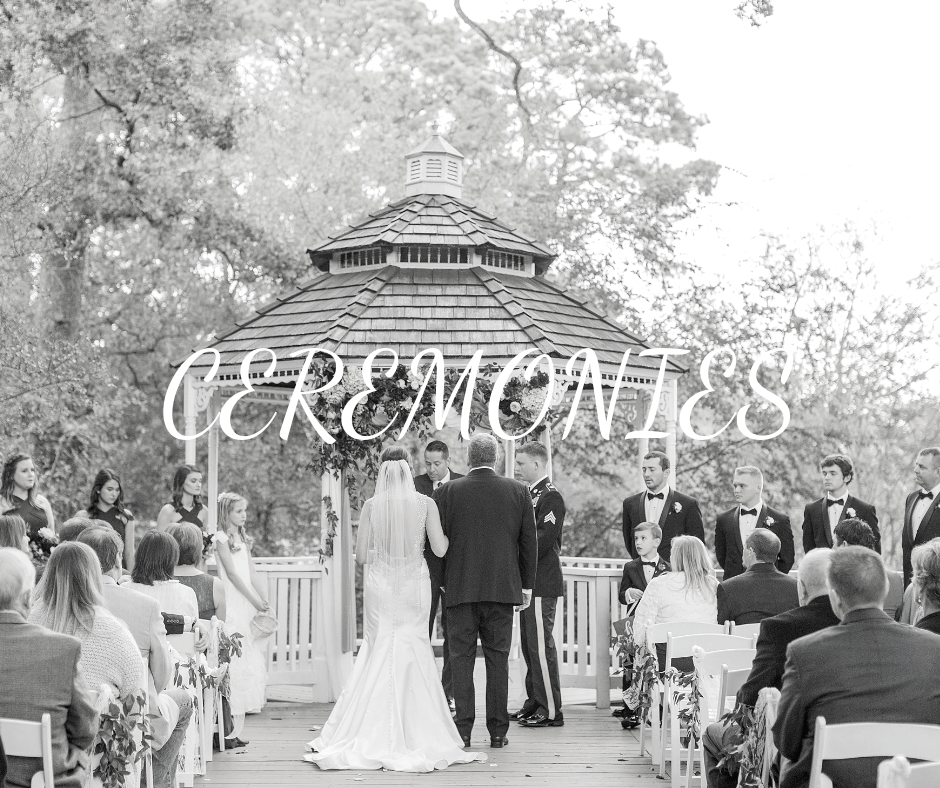"""""""Ceremonies"""" over grayscale photo of father walking bride down the outdoor aisle"""