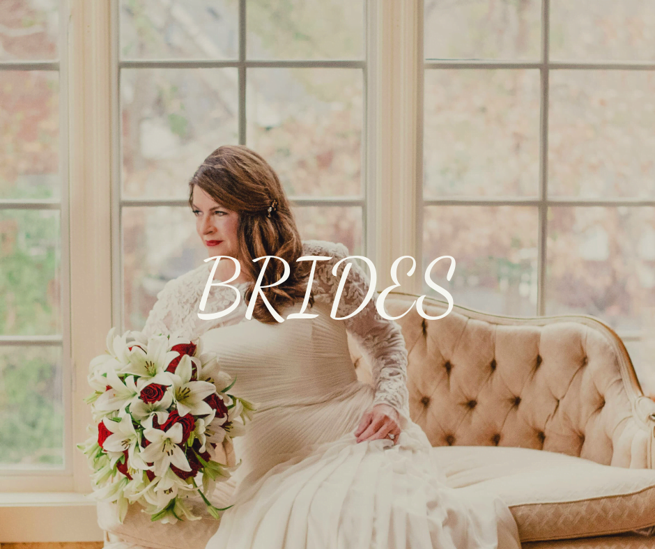 """the word """"Brides"""" over a photo of a bride posing on couch"""