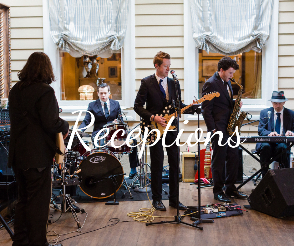 """""""Receptions"""" text over photo of band playing outdoors"""