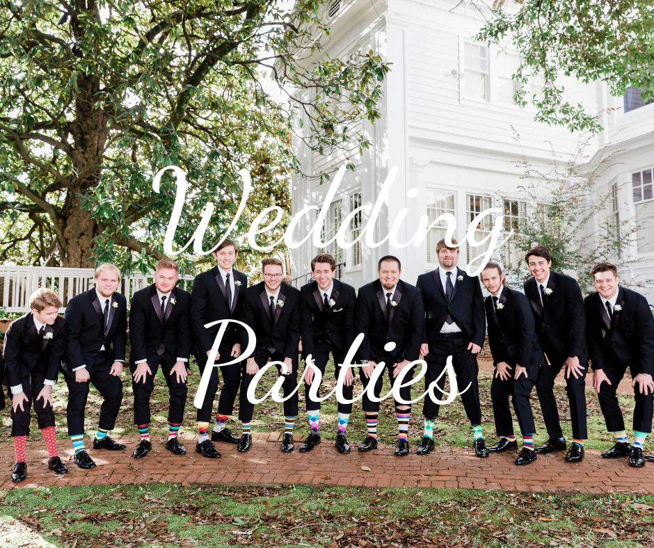 """""""Wedding Parties"""" text over photo of groomsmen"""