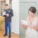 bride and groom separately reading letters before ceremony