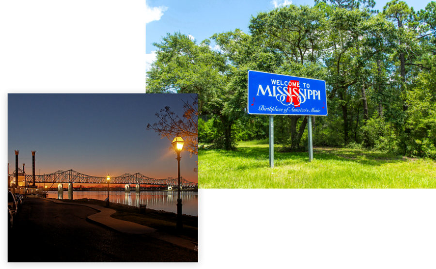 Welcome to Mississippi and nighttime view