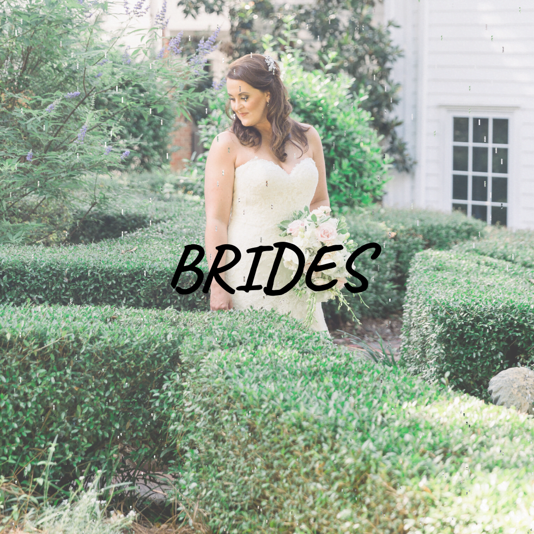 "the word ""Brides"" over a photo of a bride in a garden"