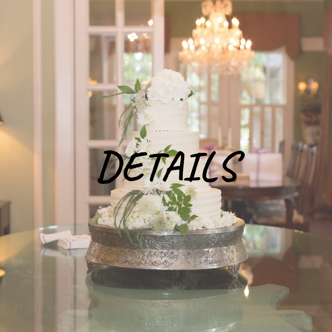 """Details"" over photo of wedding cake"