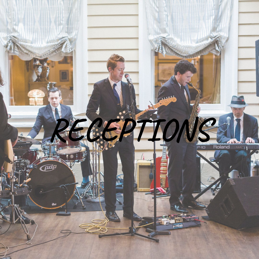 """Receptions"" text over photo of band playing indoors"