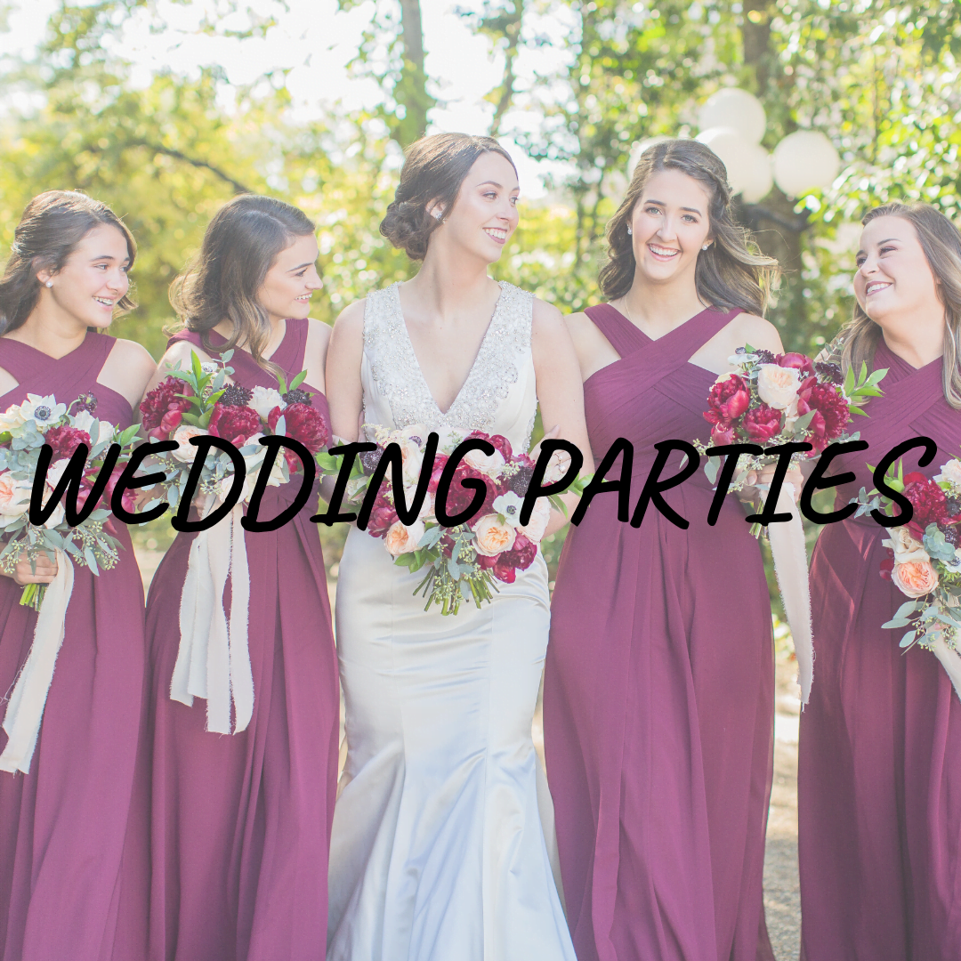 """Wedding Parties"" text over photo of bridesmaids"