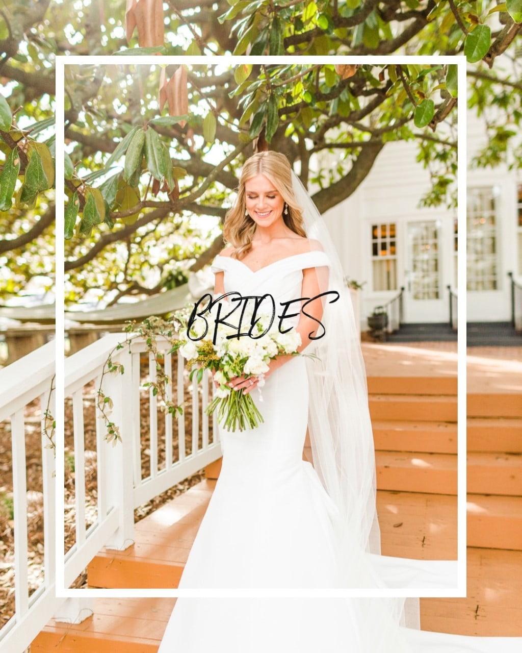 """the word """"Brides"""" over a photo of a bride in a garden"""