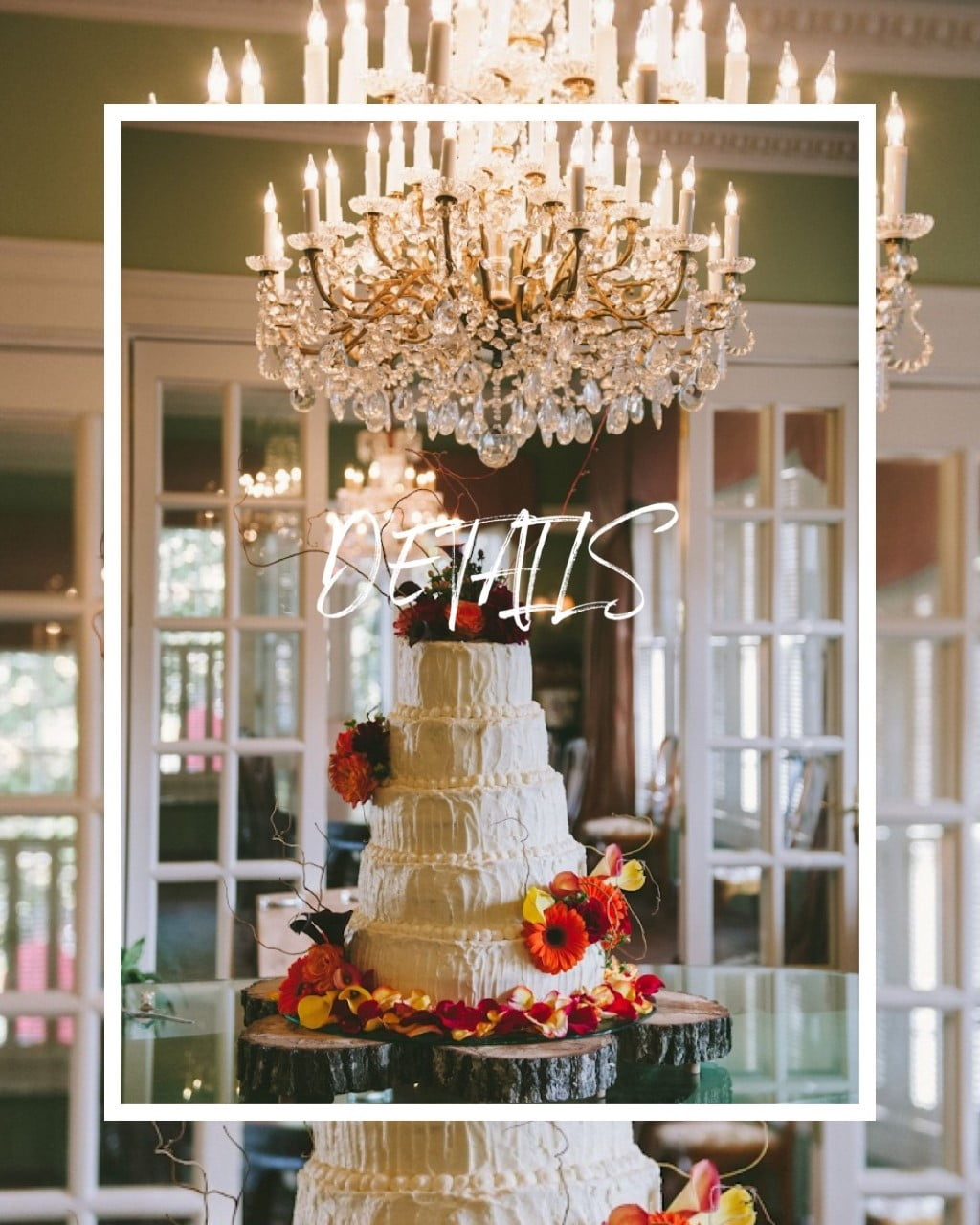 """Details"" over photo of wedding cake"